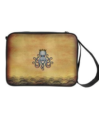 Tan Octopus King Tattoo Messenger Bag. Sea creatures tattooed on worn looking baggage are desired.
