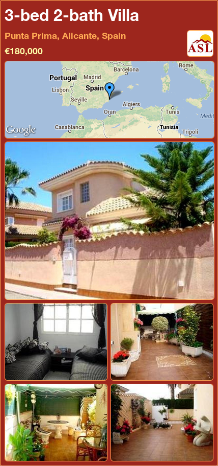 3-bed 2-bath Villa in Punta Prima, Alicante, Spain ►€180,000 #PropertyForSaleInSpain