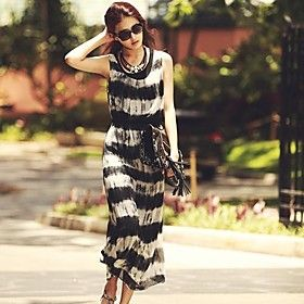 Women's Chinese Ink Print 2 Pieces Suit Sleeveless Stripes Maxi Dress (Chiffon/Knitwear)