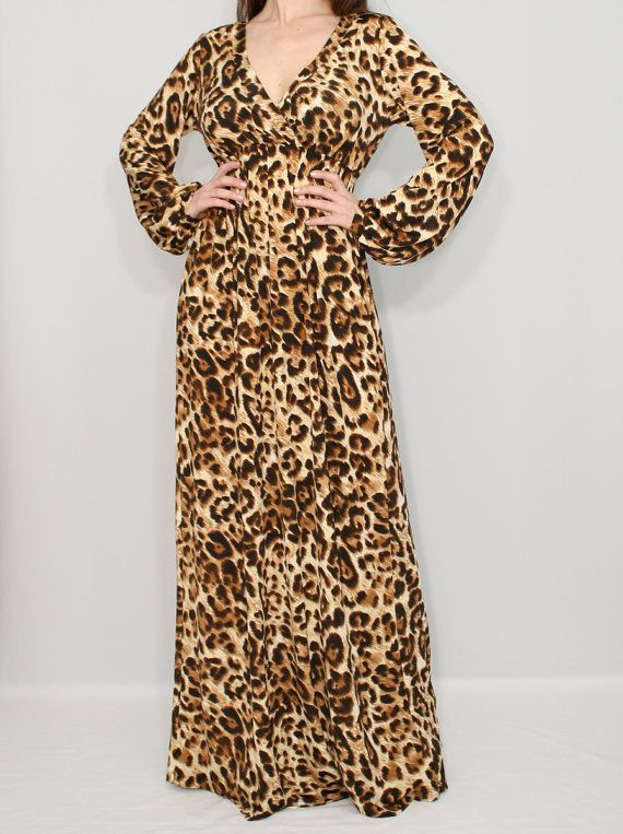 Animal print maxi dress Long sleeve dress by KSclothing on Etsy ... e9d9d9876