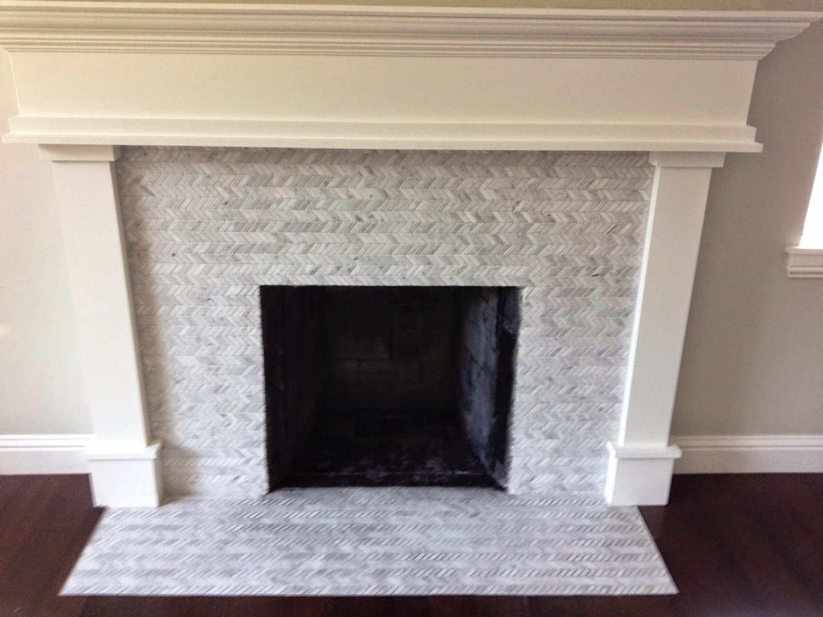 White Gold Remodel Fireplace Project Tile Carrara Herringbone From Salt Lake Company Paint Color Benjamin Moore Moonshine For Walls