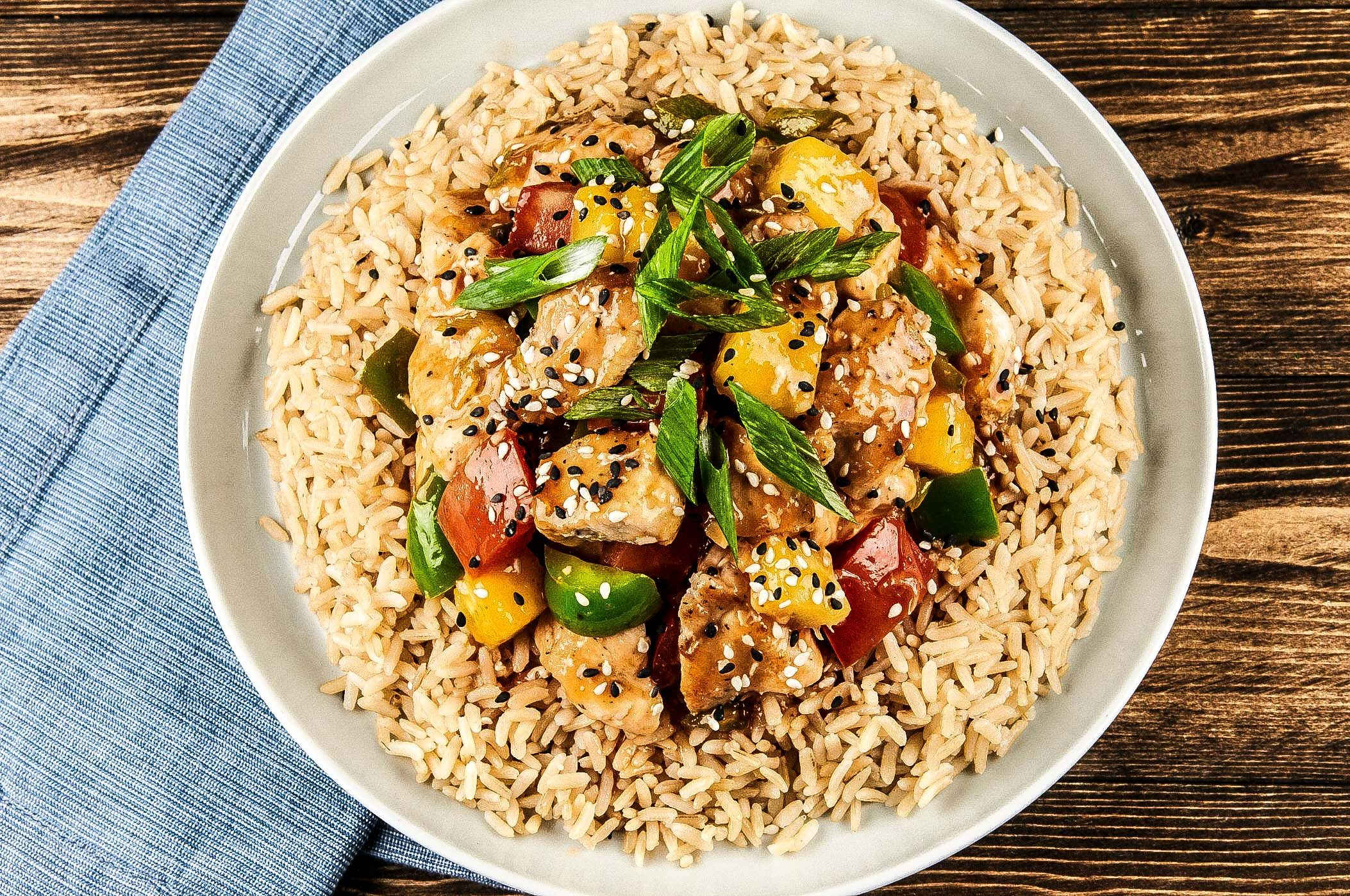 Blue apron green chef - Healthy Takeout Sweet And Sour Chicken With Brown Rice And Green Bell Pepper Home Chefblue Aprongreen