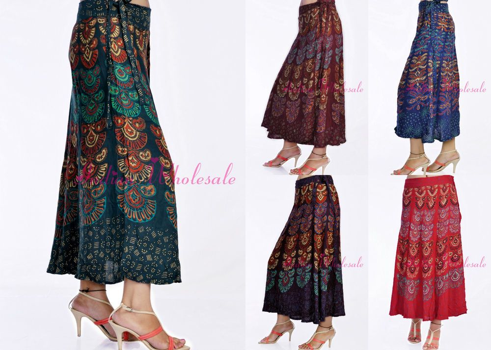 Lot Of 20 Indian Mandola Rayon Long Wrap Around Skirt Maxi For Top ...