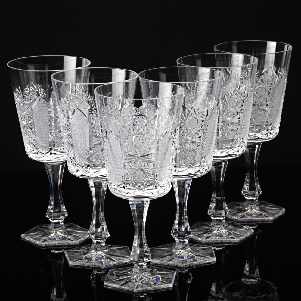 6 vintage weingl ser kristall gl ser bohemia bleikristall stern schliff w6d vintage glas glass. Black Bedroom Furniture Sets. Home Design Ideas