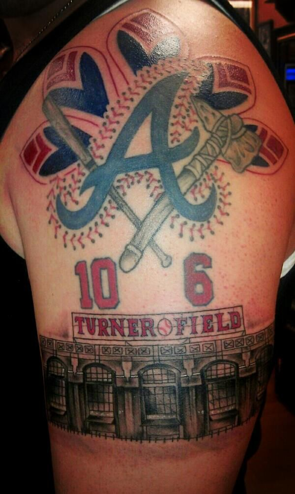 Braves Fan Tattoo Atlanta Braves Now Even I Think This Is A Little Extreme Atlanta Braves Tattoo Be Brave Tattoo Baseball Tattoos