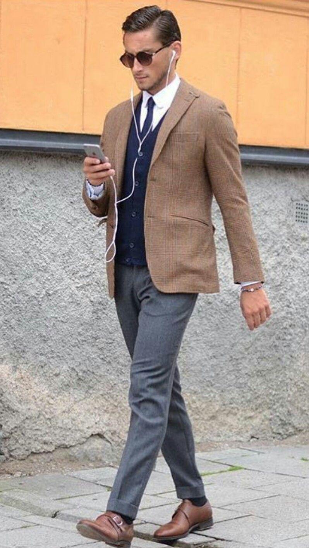Grey Pants Brown Blazer Winter Outfits Men Brown Pants Men Mens Outfits