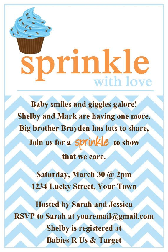 Sprinkle baby shower Invitation Template 4x6 by LuckyBean33 - baby shower invitations words