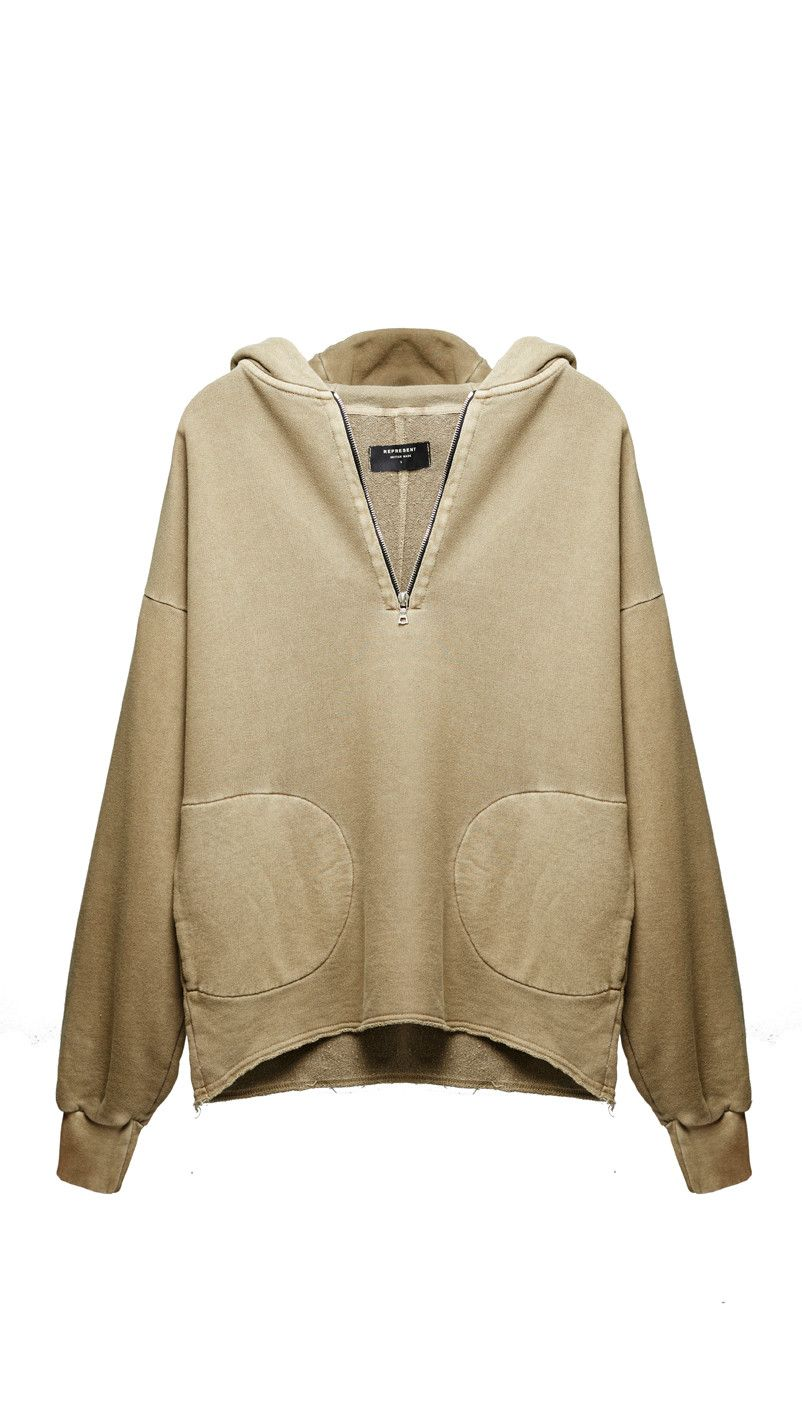 Half Zip Hoodie - Washed Tan | Street Fashion (Men & Women ...