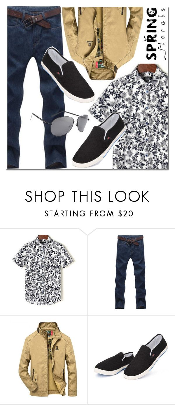 """""""NEWCHIC floral shirt"""" by mada-malureanu ❤ liked on Polyvore featuring men's fashion, menswear, floralprint and newchic"""