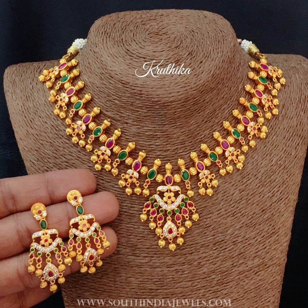 One Gram Gold Stone Necklace Set From Kruthika Jewellery | Stone ...