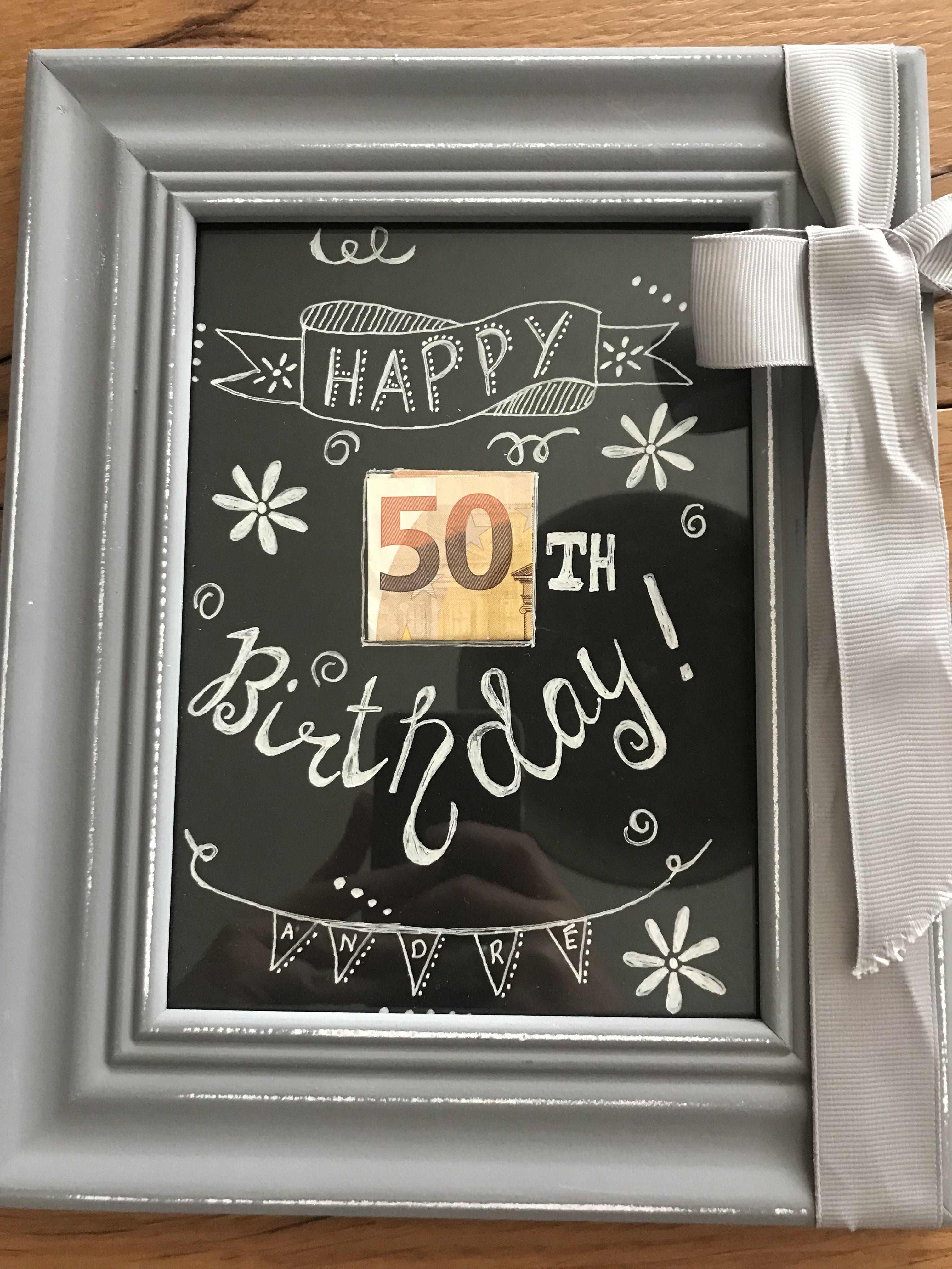Zum 50 Geburtstag Geldgeschenk Selbstgemacht Im Bilderrahmen