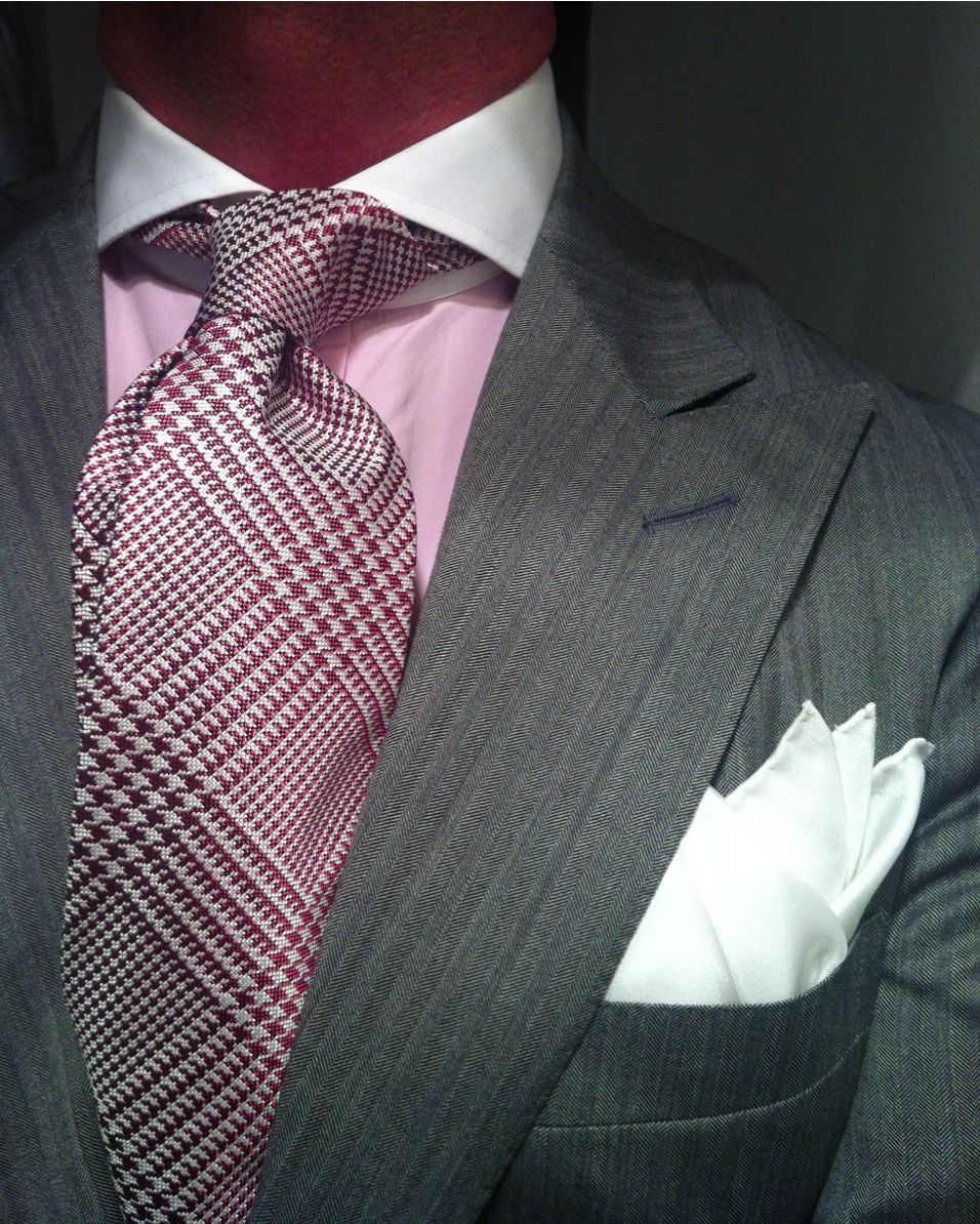 b2cb1d9b0535c thesnobreport: WIWT MTM light grey herringbone suit by Ralph Lauren, pink  shirt with contrasting white Keaton collar by Purple Label, POW check tie  by ...