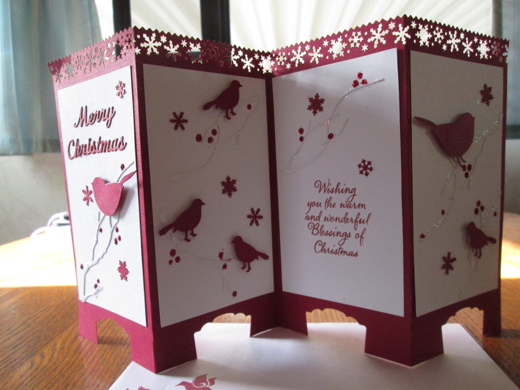 Chinese Screen Folding Card In Christmas Theme By Ineke Fleming Usa