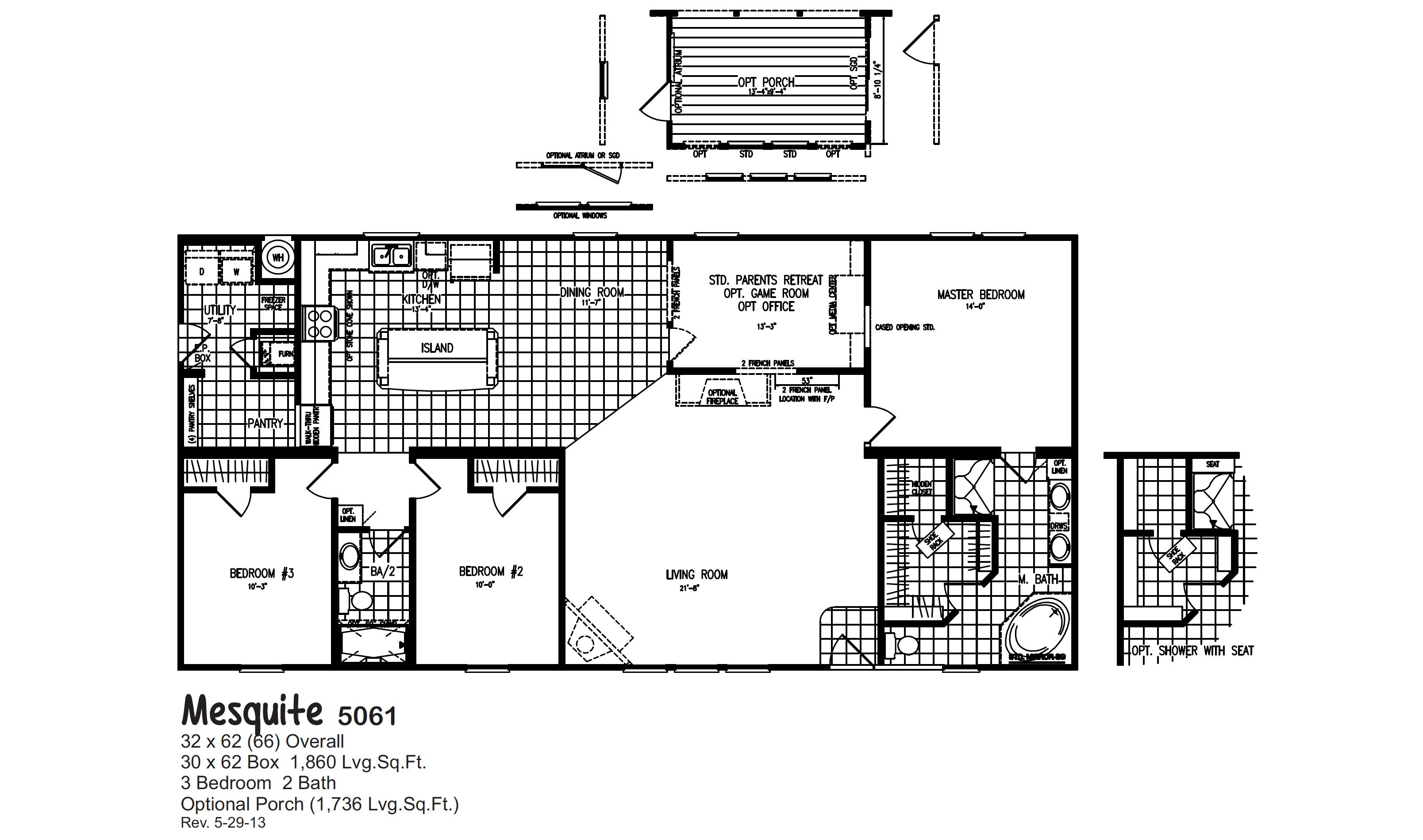 Mesquite 5061 Oak Creek Homes Oak Creek Homes Modular Homes Floor Plans