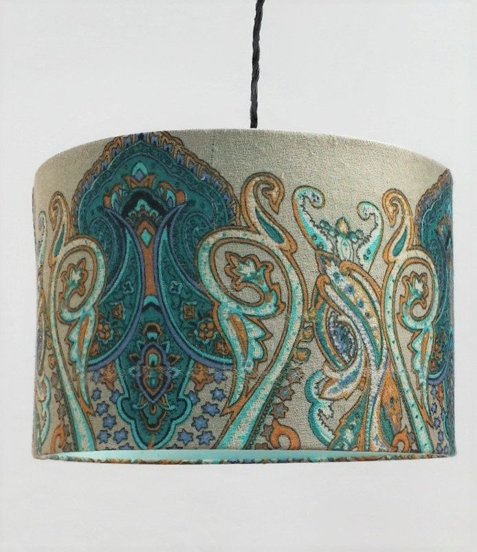 Lamp shadeGorgeous hand woven Persian pattern fabric drum shade