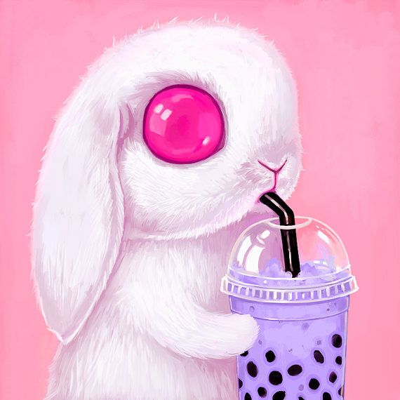 Image result for pink eyed white bunny drinking bubble tea