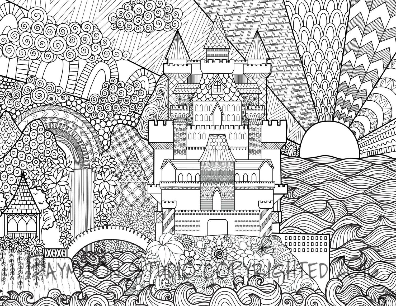 Castle Coloring Page Printable Coloring Pages By Baymoonstudio Malvorlagen Wenn Du Mal Buch Malbuch Vorlagen