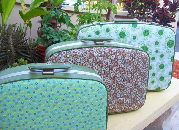 White & Green Fabric Covered Vintage Suitcase by FabFindsandDesign, $35.00