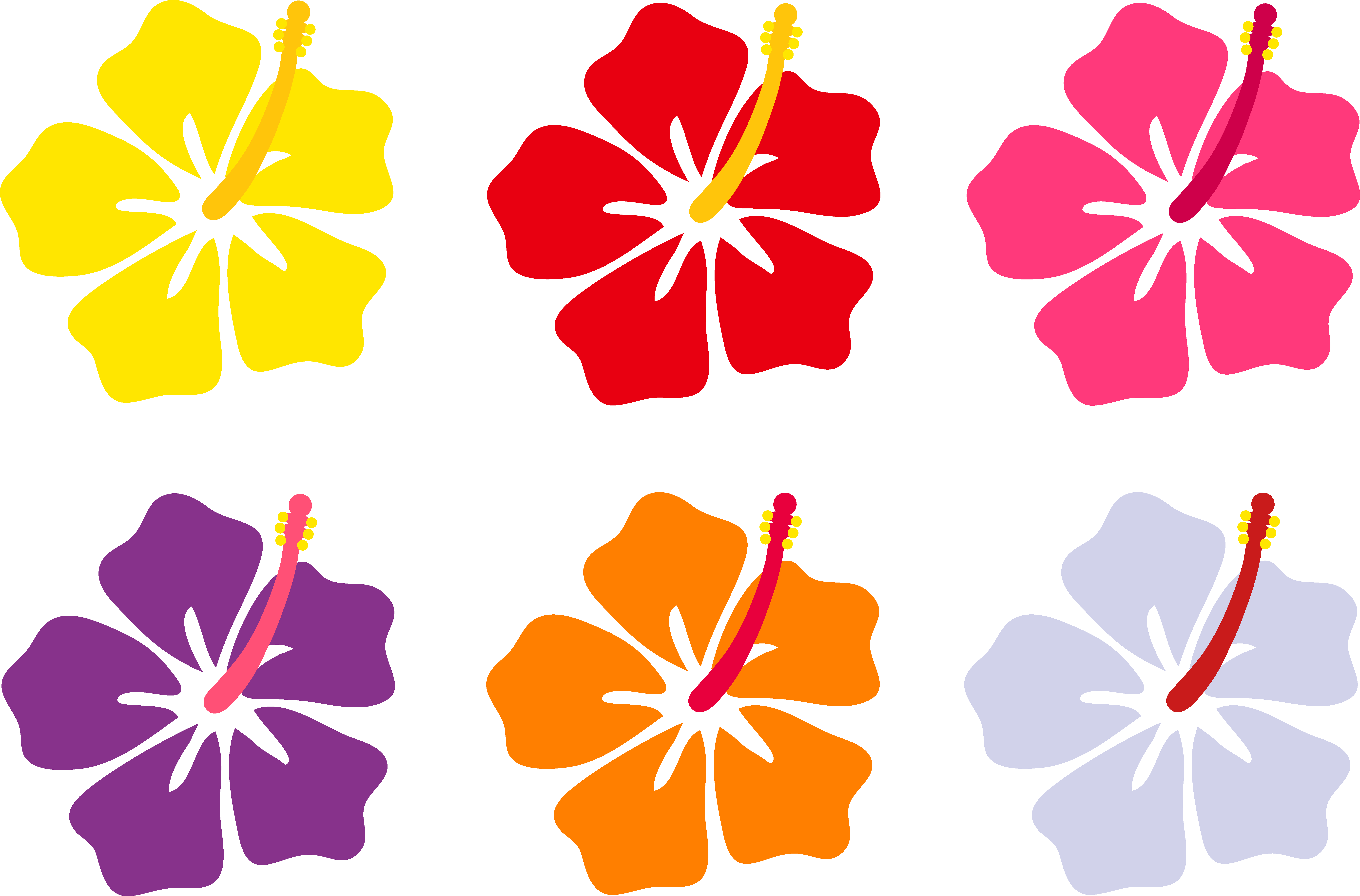 Hawaiian Flower Clip Art Hibiscus Flowers In Six Colors Free