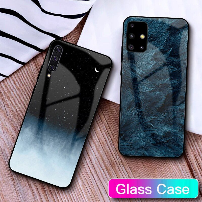 Tempered Glass Case For Samsung Galaxy A50 Feather Print
