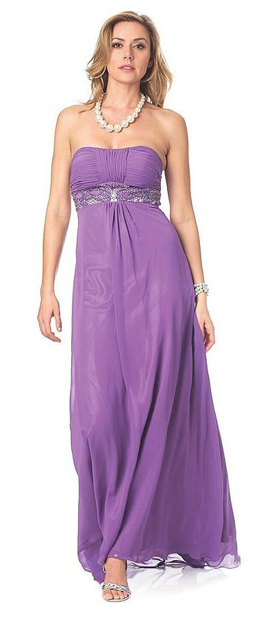 Long Purple Winter Formal Dress Chiffon Strapless Empire Waist ...