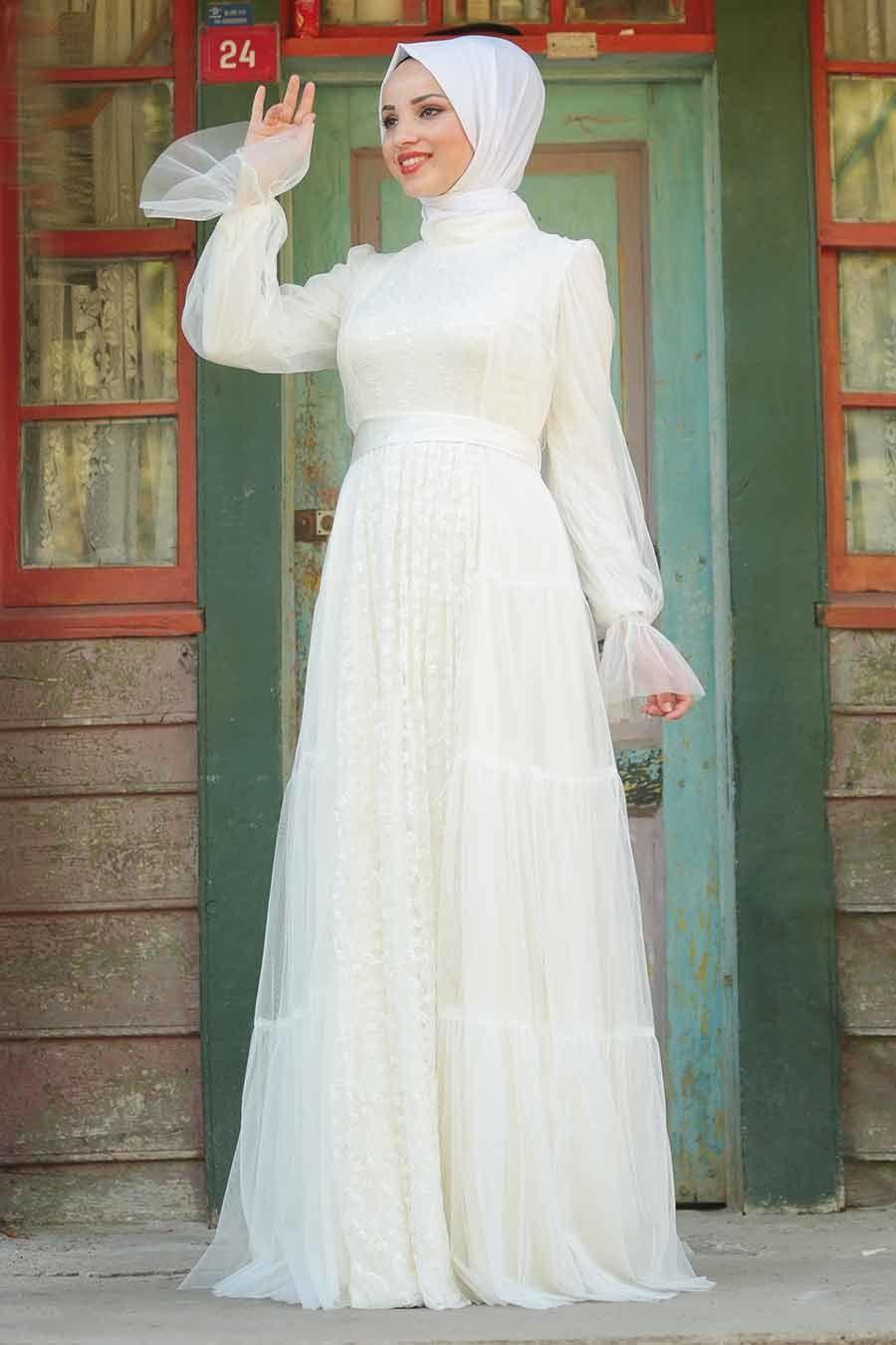 Tesetturlu Abiye Elbise Kusakli Ekru Tesettur Abiye Elbise 3963e Tesetturisland Com Elbise Elbise Dugun Kiyafet