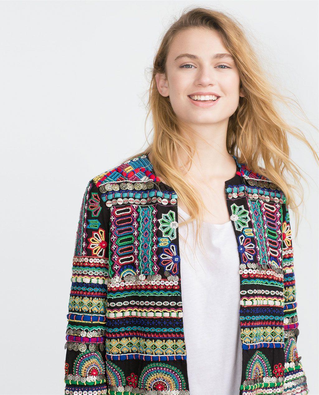Chichwish flower embroidered boho dress, studs, mango studded jacket,  embroidered dress, topshop