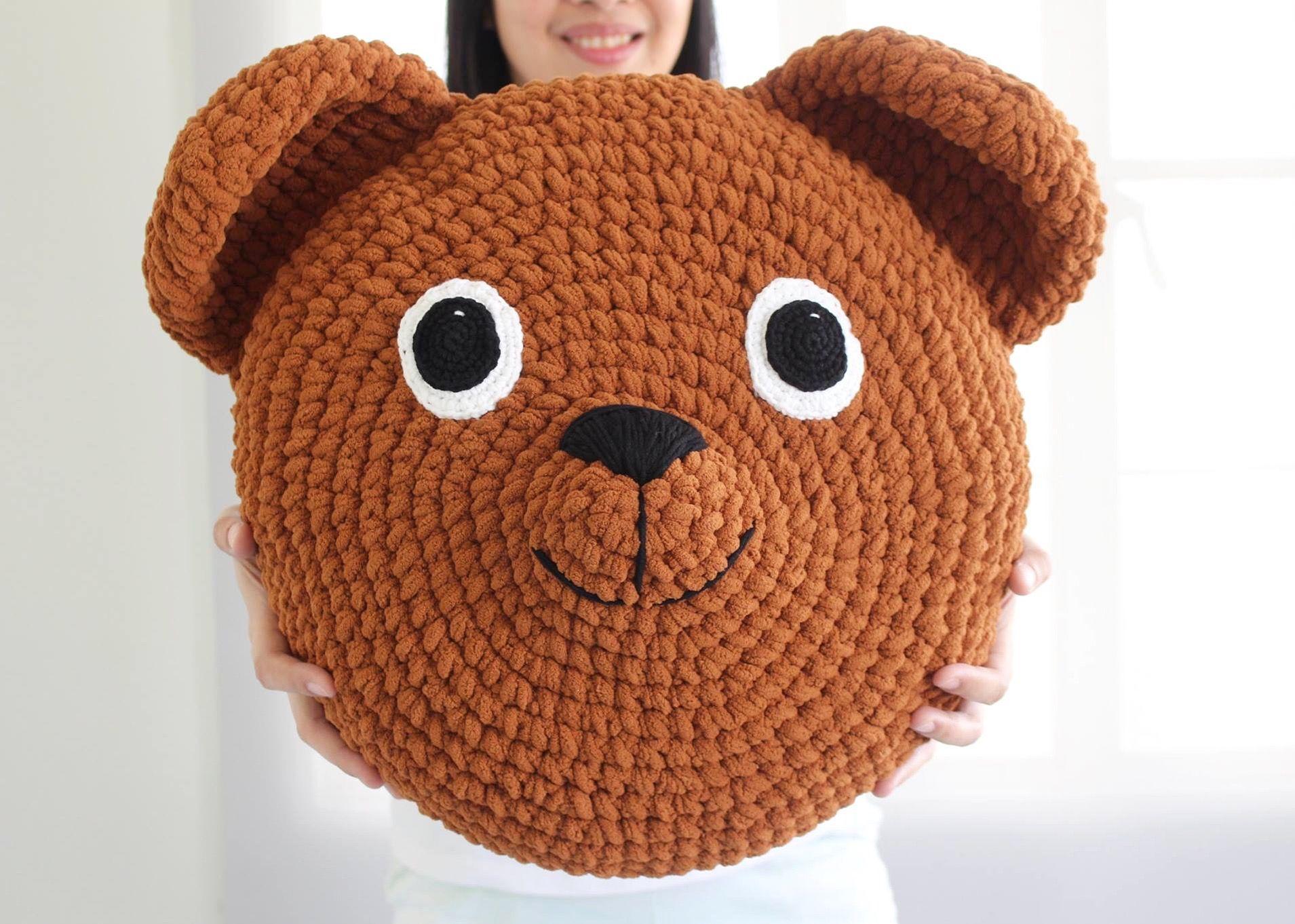 Crochet Teddy Bear Pillow