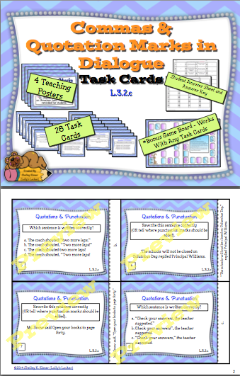 Quotation Marks & Commas in Dialogue Task Cards | Student, Keys ...