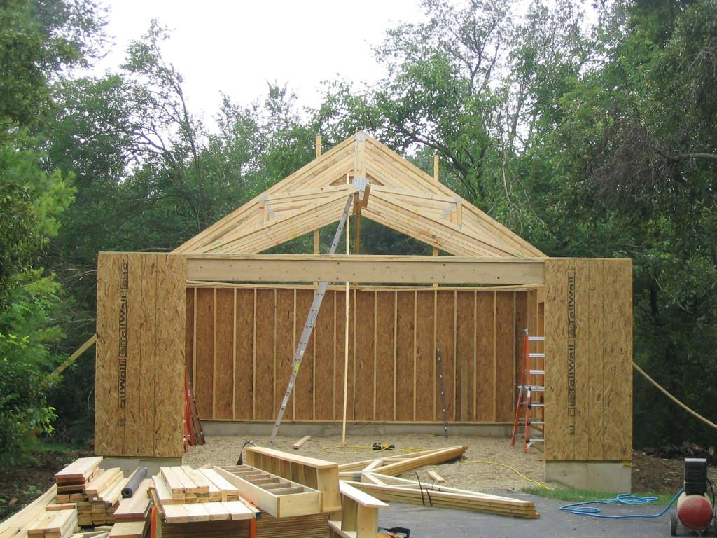 2 Car Garage With Scissor Truss Roof Lots Of Interior Height But No Attic