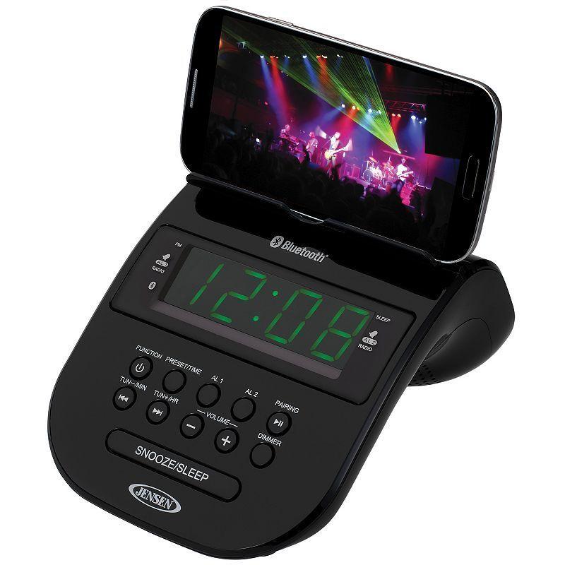 Jensen Bluetooth Clock Radio with Smartphone Holder, Black