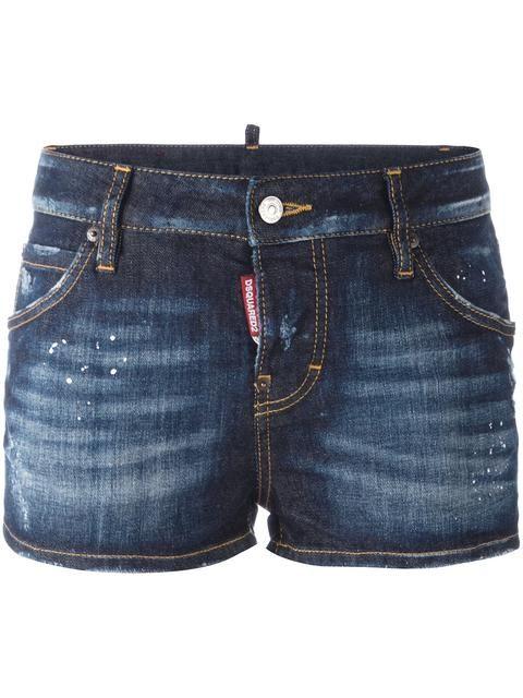 Shop Dsquared2 distressed denim shorts.  2a35ebcbe0a