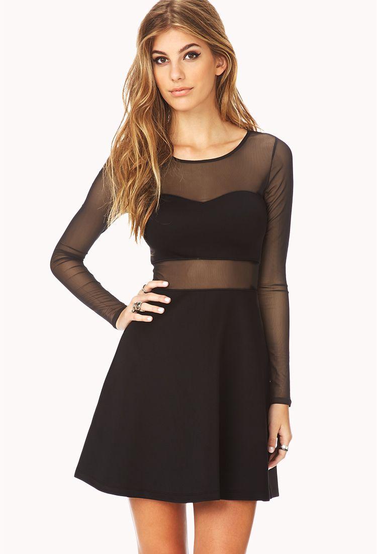 Bold Mesh Skater Dress   FOREVER21 $15.80   Pretty outfits   Pinterest