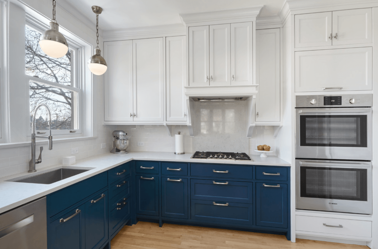 Dual-Tone Navy and White Cabinets | Home Remodel | Pinterest ...