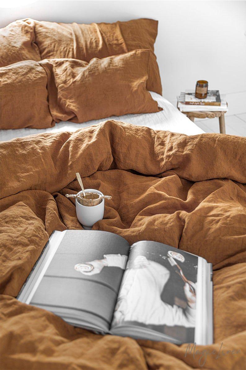 Linen Bedding Set In Cinnamon King Queen Duvet Cover Set
