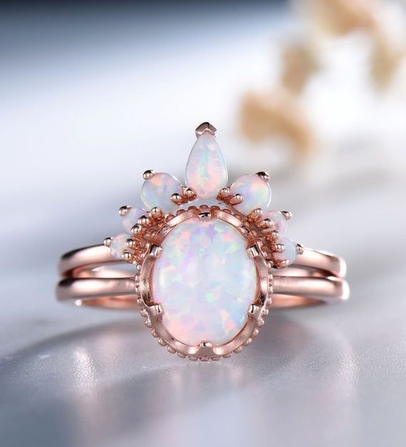 Opal Ring Opal Stacking Ring Set Rose Gold Opal Ring Silver Opal Ring Oval White Fire Opal Engagement Ring October Birthstone Opal Jewelry