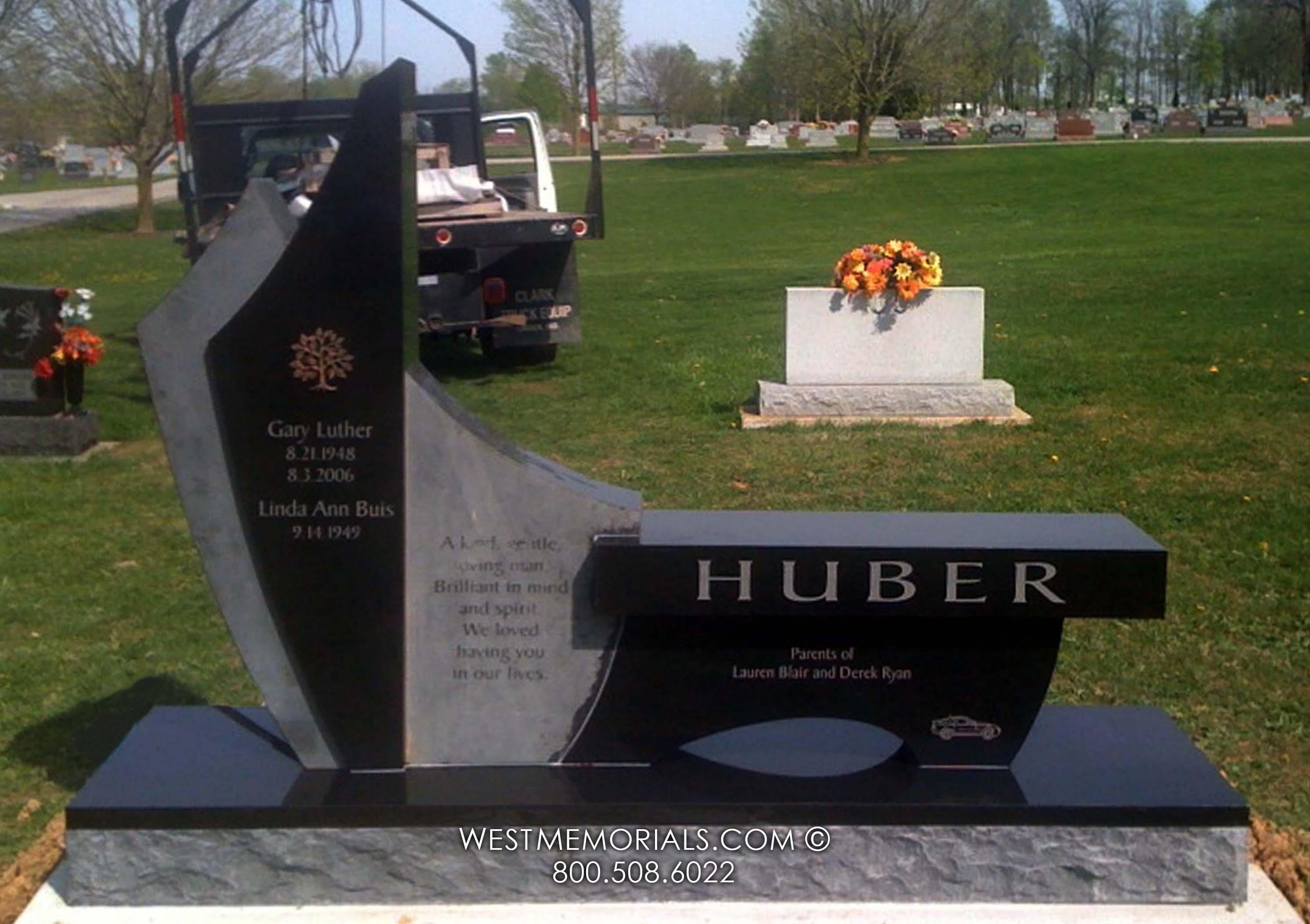 Buege Carved Cross Design Headstone In Black Granite It