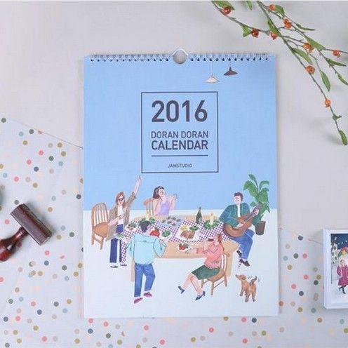 韓國正品jamstudio 可愛2016年全彩頁日曆掛曆月曆掛牆式年曆牆曆
