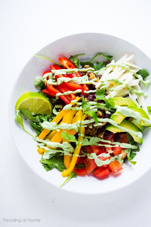 Vegan Veggie Burrito Bowl w/ Creamy (also vegan and gluten-free) Cilantro Sauce - full recipe in the link at the bottom of the page!