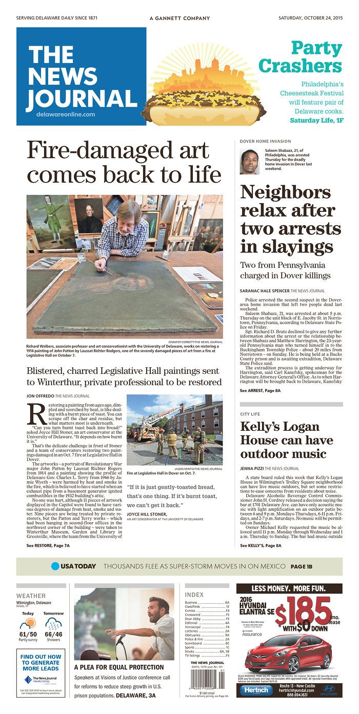 The News Journal's front page for Saturday, Oct. 24, 2015