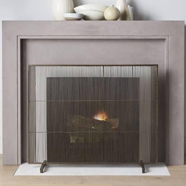 Chevron Fireplace Screen Mantle Fireplace Screens Brass