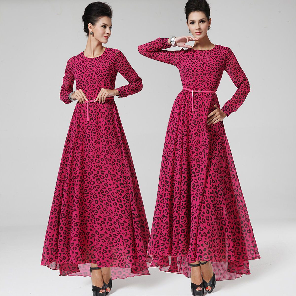 Celeb retro women leopard long sleeve chiffon fishtail maxi dress