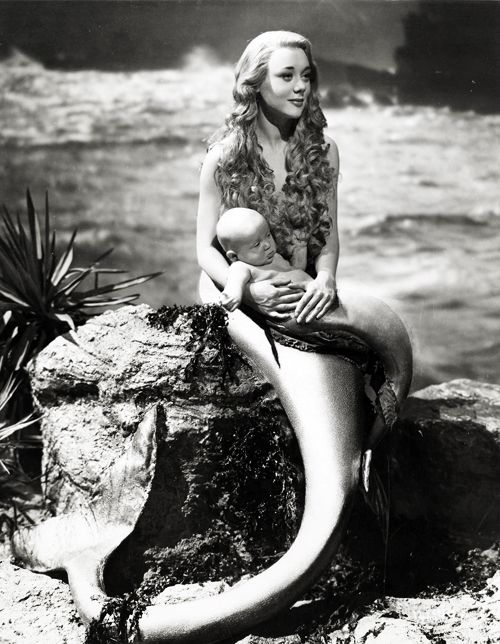 Old Black and White Photography | film Black and White vintage mermaid old hollywood 1940's Glynis Johns