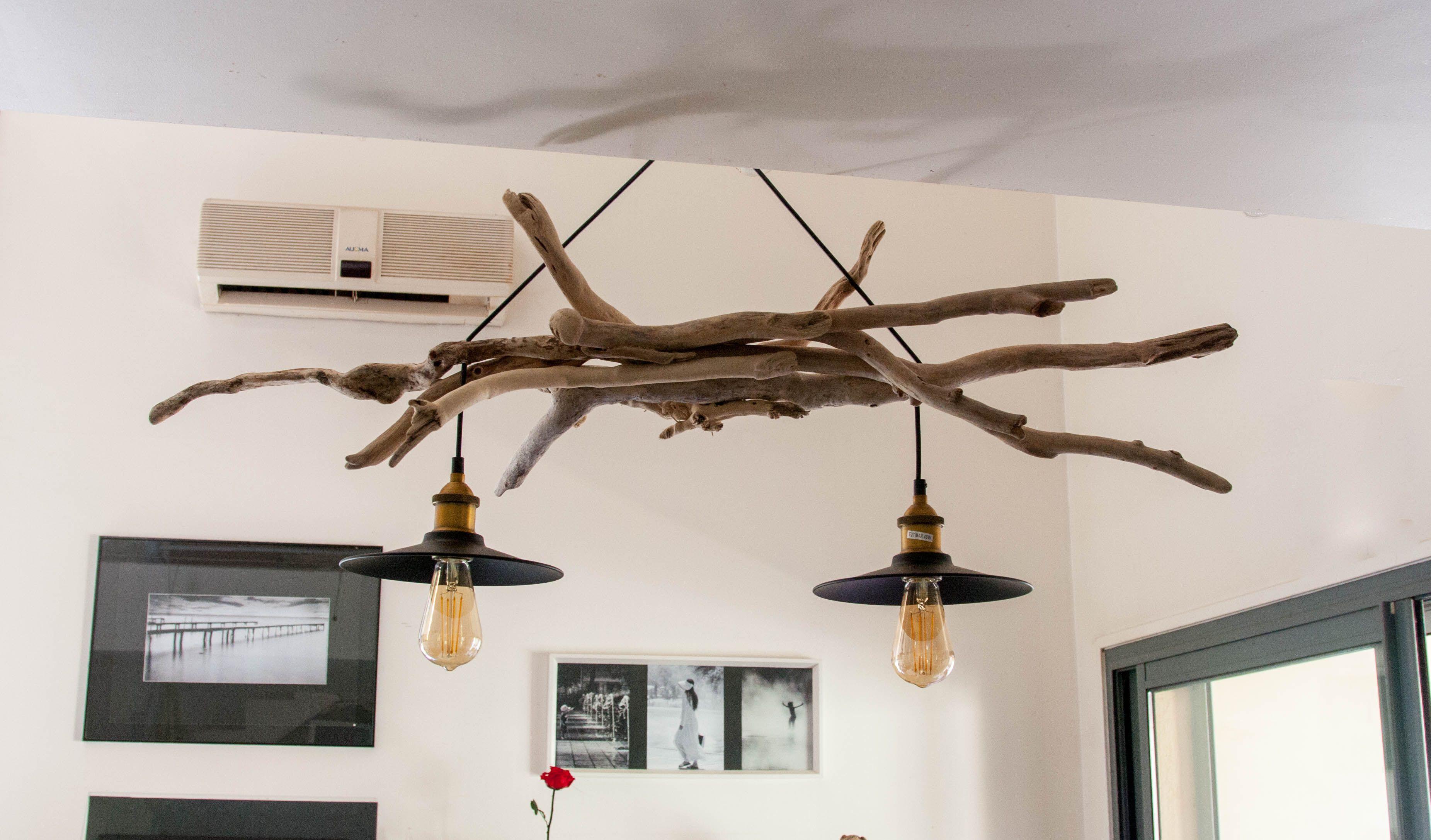 Original Lustre En Bois Flottes Avec 2 Suspension Style Industriel Lustre En Bois Flotte Lampe Bois Bois