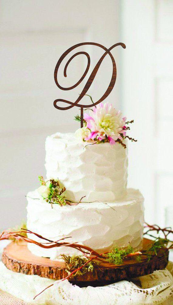 Letter D Cake Topper Gold Initial Cake Topper Wood Monogram