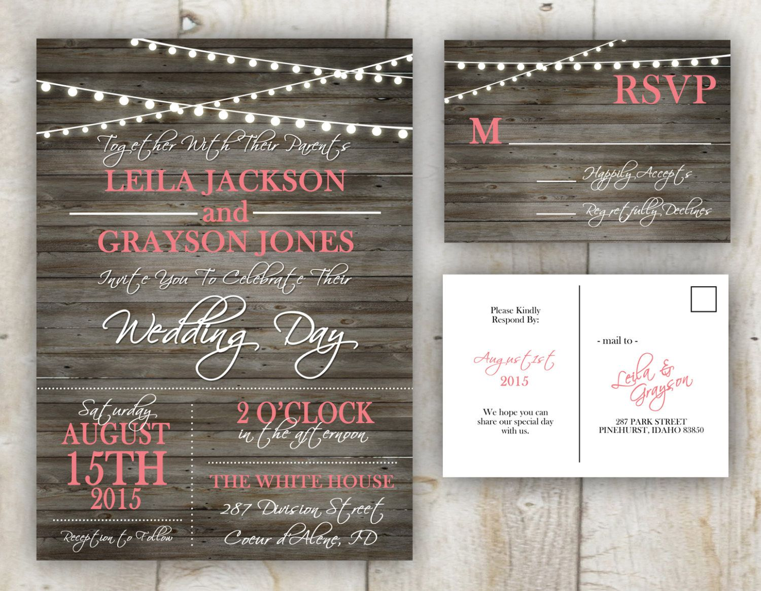 A personal favorite from my Etsy shop https://www.etsy.com/listing/248139225/rustic-wedding-invitation-5x7-with