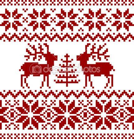 Colección de patrón noruego de Navidad, aislado sobre fondo blanco ...