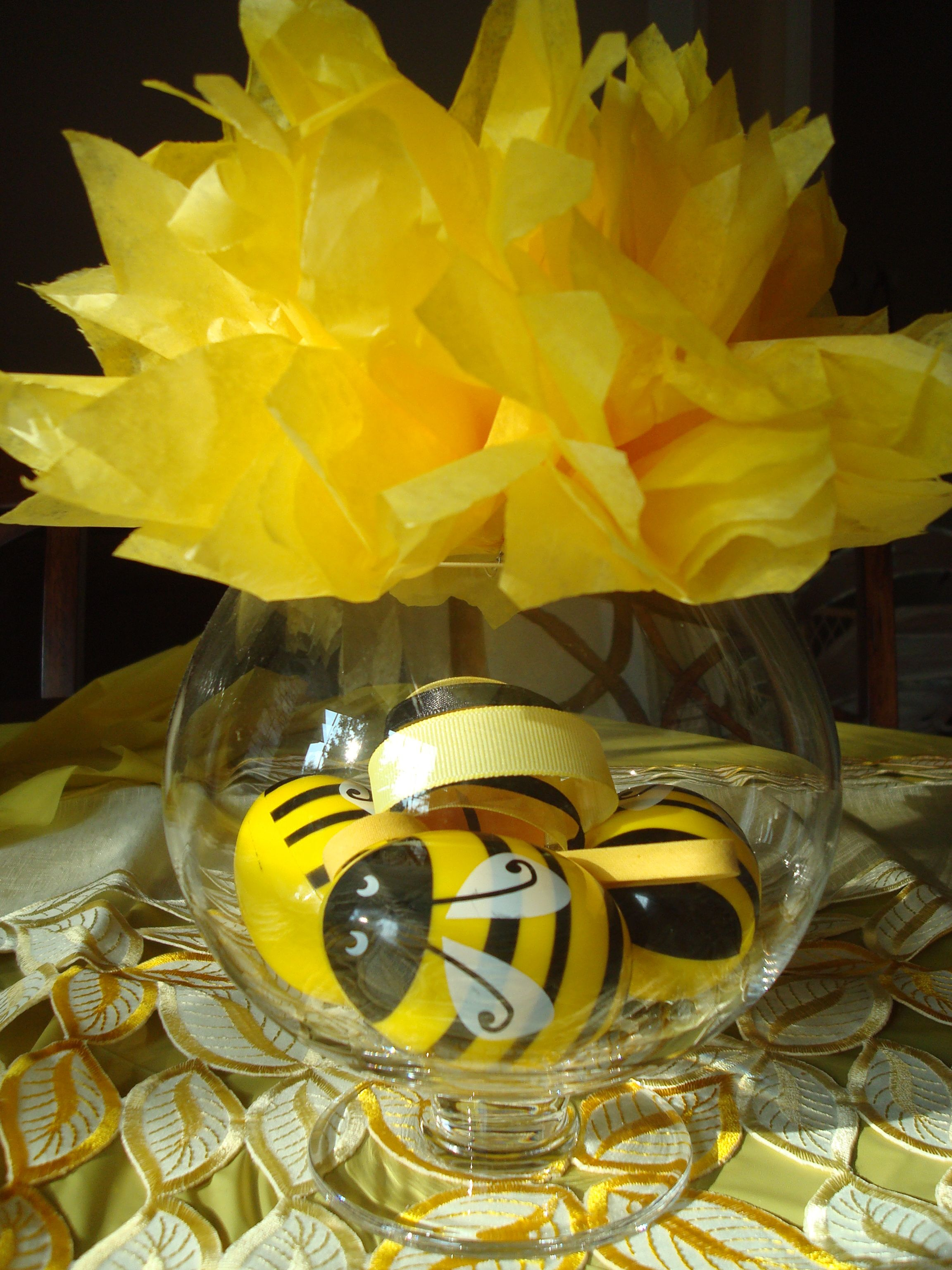 Bee Party Centerpiece  Tissue Pom Flower On Top Of