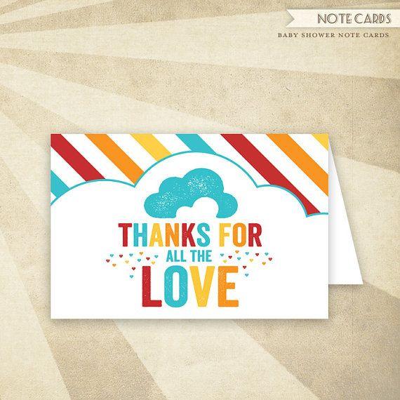 Retro Rainbow Baby Shower PRINTABLE Folded Thank You Card ...