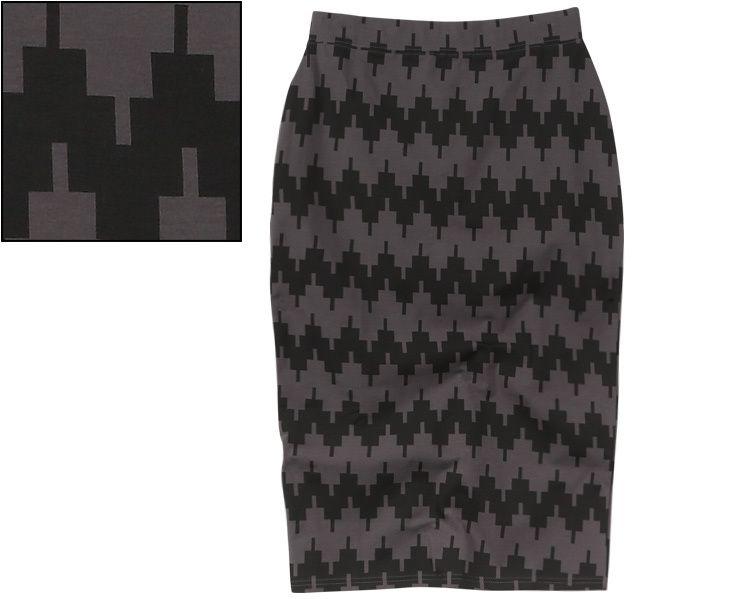 Rivers pixelated pencil skirt